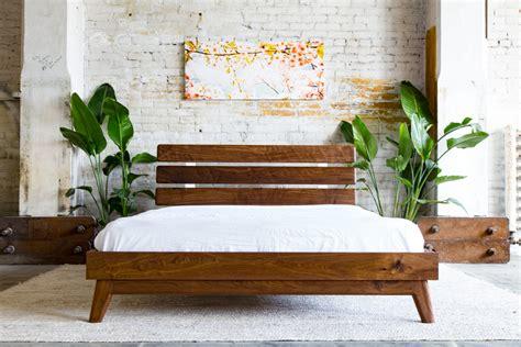 modern full size bed modern bed platform bed walnut bed midcentury modern bed