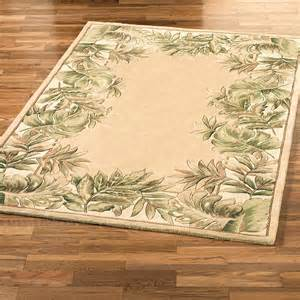 Discount Outdoor Rug Tropical Leaves Border Area Rug