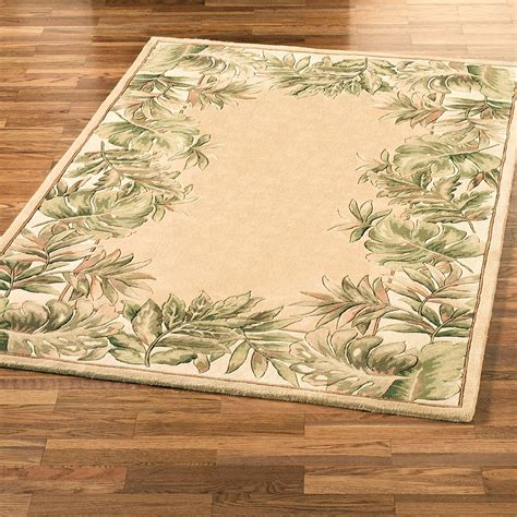 Tropical Leaves Border Area Rug Tropical Rugs