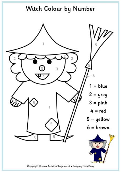 halloween coloring pages activity village witch colour by number printable october pinterest