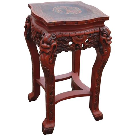Japanese Table L Antique Japanese Carved Wood Lacquered And Marked Table Stand And Painted For Sale At