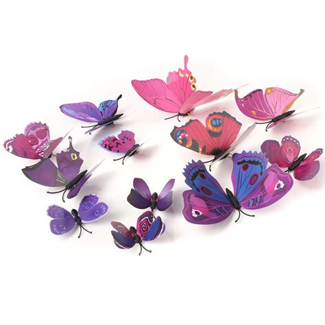 Stiker Dinding Butterfly 3d 12pcs 12pcs 3d purple butterfly wall stickers decals home wedding decoration alex nld