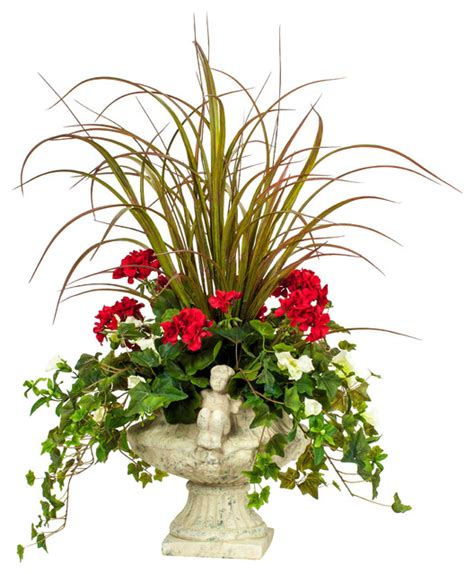 artificial floral arrangements red geranium with grass silk floral arrangement
