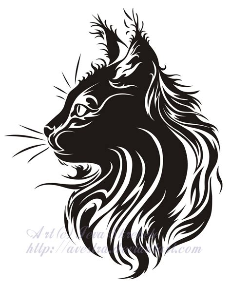 tribal cat tattoos cat profile tribal by avestra on deviantart