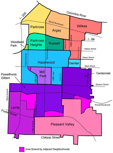 portland neighborhood map map of east portland neighborhoods east portland neighborhood office