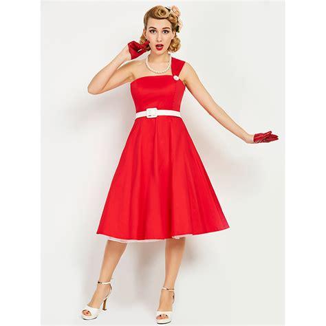 one shoulder swing dress red one shoulder women s midi swing dress n14238