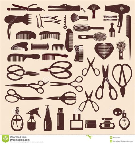 Hairstyle Tools Designs For Silhouette Cutting by Set Icons Of Haircutting Tool Illustration Stock Vector