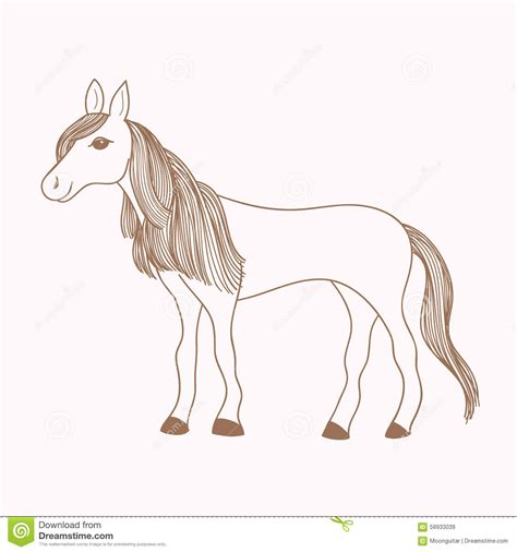 draw horse illustrator cute hand drawn horse drawing of mare stock vector