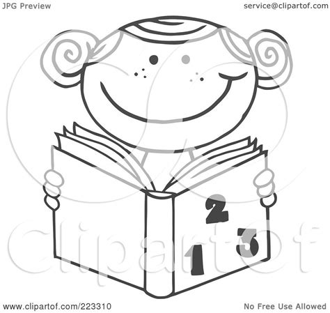 coloring pages girl reading royalty free rf clipart illustration of a coloring page