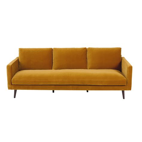 yellow velvet sofa mustard yellow 4 seater velvet sofa kant maisons du monde