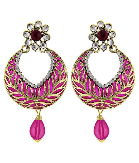 pink earrings celebrity tradisyon bollywood celebrity inspired hot chic floral