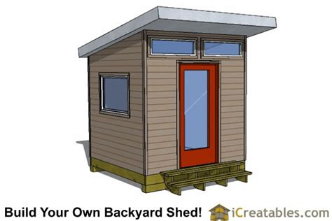 Modern Studio Plans 8x8 modern shed plans center door