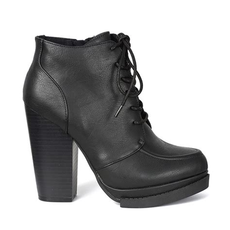 black lace up stacked heel boots sinistersoles