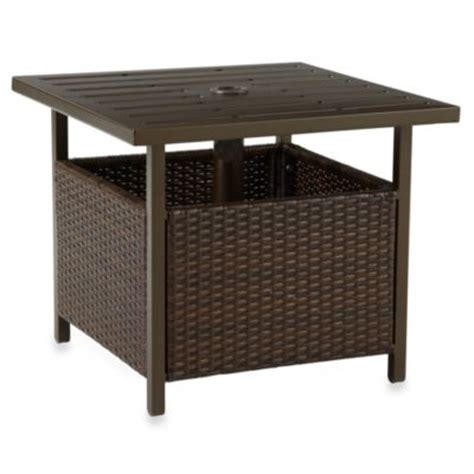 patio side table with umbrella buy patio umbrella table base from bed bath beyond
