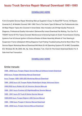 download car manuals pdf free 1993 isuzu amigo parking system isuzu truck service repair manual download 19 by cristinacapps issuu