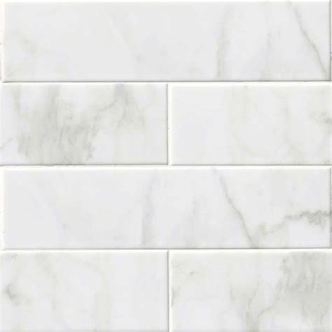 White Ceramic Floor Tile 10 Pieces Of 4x16 Carrara White Ceramic Glossy Subway Transitional Wall And Floor Tile By