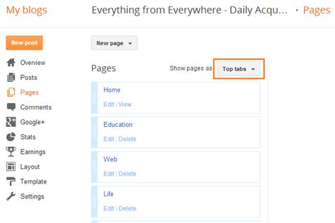 blogger pages how to put pagelist widget on top in blogger everything