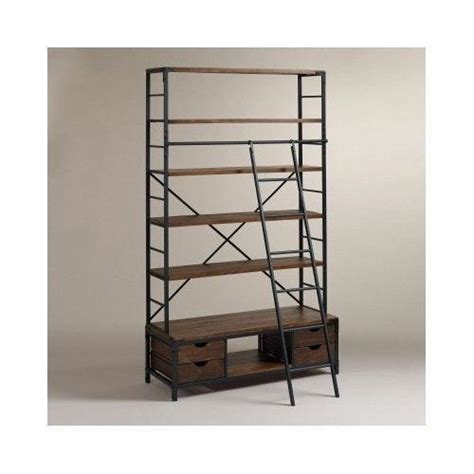 Bookcase With Rolling Ladder Industrial Bookcase Ebay