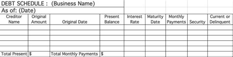Business Debt Schedule How To Best Prioritize Your Debts Second Wind Consultants Debt Schedule Template