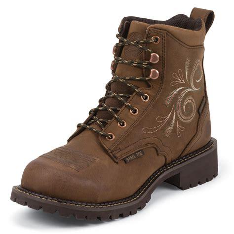 justin work s steel toe waterproof work boot jwkl985