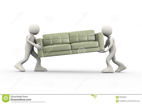 character sofa 3d people carrying couch stock illustration image of