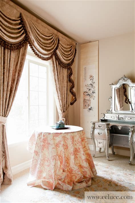 Swag Curtains Images Decor Quot Baroque Floral Quot Valance Curtains With Swags And Tails By Celuce Traditional Seattle