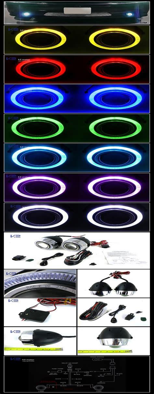 colored fog lights universal halo fog light projector 7 color