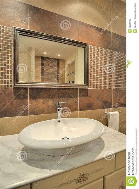 Washroom Closet by Water Closet And Mirror In Washroom Royalty Free Stock
