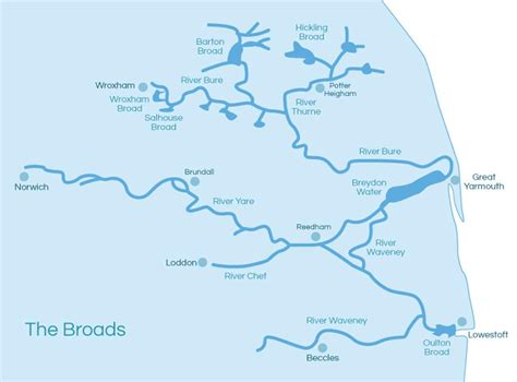 broad river map guide to broads and rivers