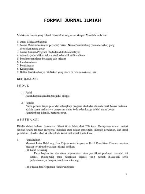 format ringkasan skripsi format jurnal ilmiah