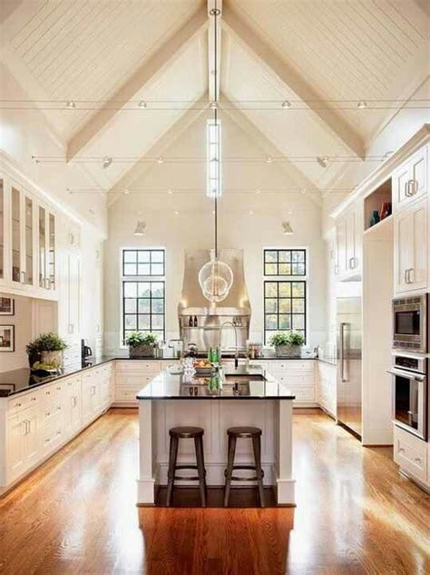 kitchen lighting ideas for vaulted ceilings vaulted ceilings in kitchen kitchens