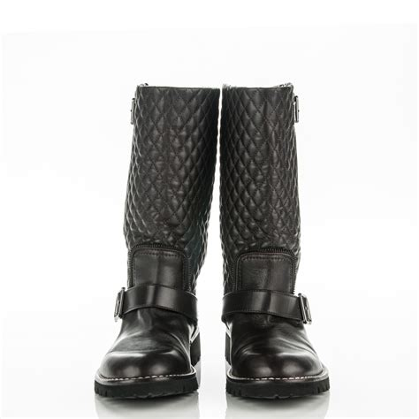 Chanel Quilted Biker Boots by Chanel Calfskin Quilted Biker Boots 39 Brown 177895