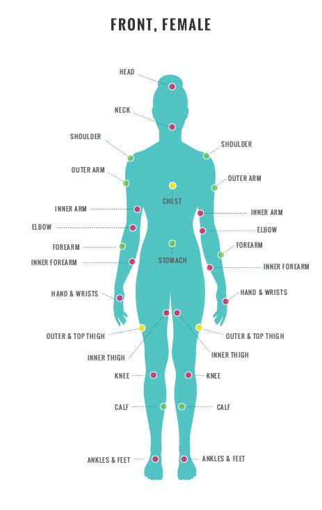 tattoo pain chart female areas elaxsir