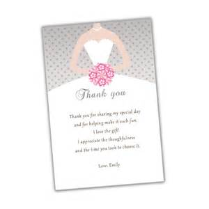 Personalized Silver Gifts Thank You Card Note For Bridal Shower Sweet 16 Quinceanera Pink And Silver Grey Polka Dots