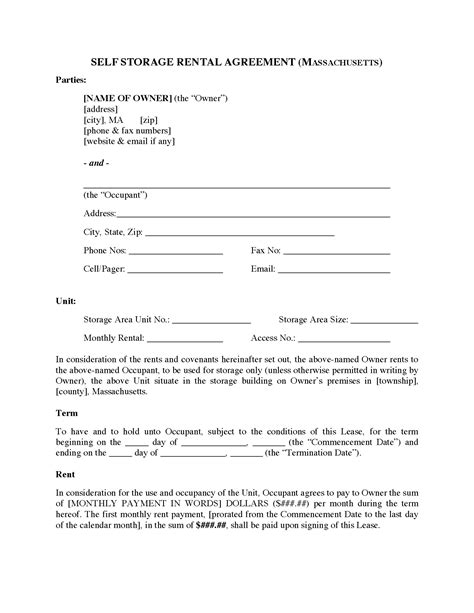 self storage rental agreement template massachusetts self storage rental agreement forms