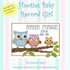 Owl Birth Record Cross Stitch Cross Stitch Birth Records On Princess Cross Stitch Owl And Birth