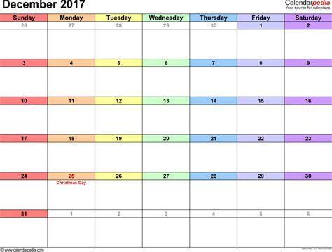 December 2017 Calendars For Word Excel Pdf Calendar Template December 2017