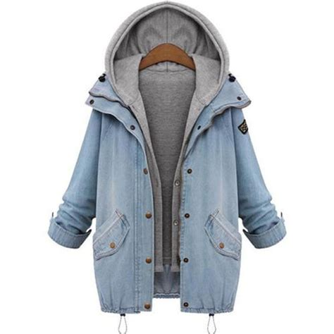 Hooded Trench Jacket fashion trench hoodie overcoat denim hooded