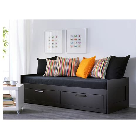 Black Bed Frame With Drawers Brimnes Day Bed Frame With 2 Drawers Black 80x200 Cm Ikea