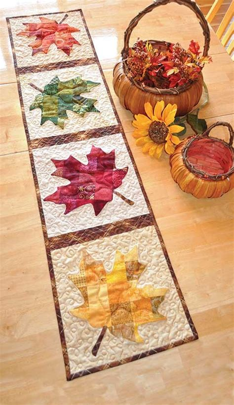 patchwork maple leaf table runner quilt pattern keepsake