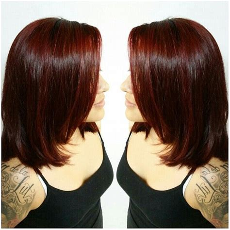 Deep burgundy red hair color on shoulder length layered haircut   Hairstyles   Pinterest