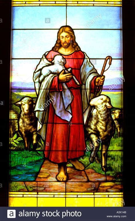 Comfort Bible Stained Glass Window Of Jesus The Good Shepherd Carrying A