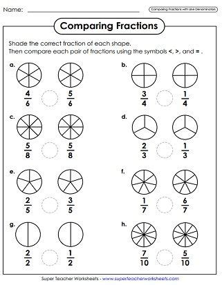 comparing fractions worksheets fracciones