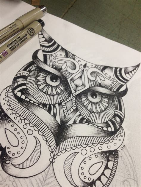 zendoodle drawing competition owl zen doodle by dalloola1996 on deviantart
