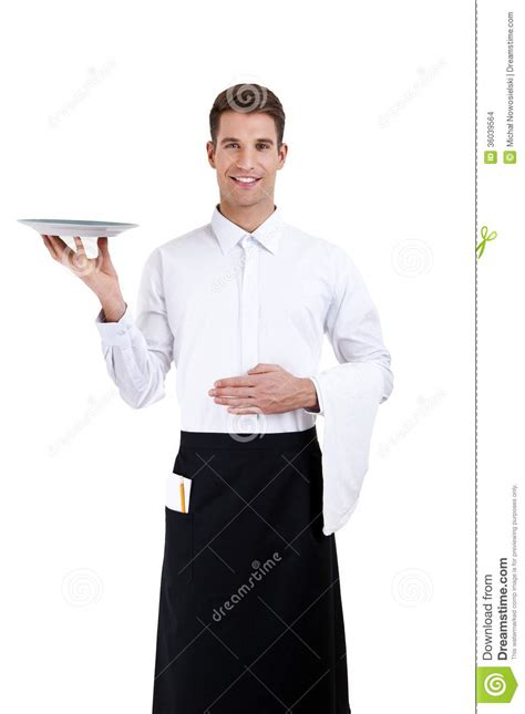 professional waiter holding an empty dish stock images
