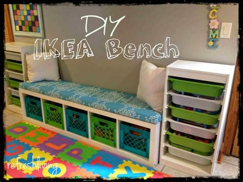 diy toy bench 8 cool diy ikea hacks for kids toy storage shelterness