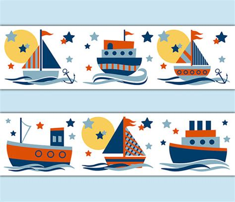 Wall Stickers For Boys Bedroom sailboat decal stickers wallpaper border baby boy nautical