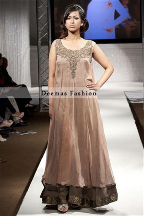 light dark brown double layer maxi buy latest pakistani