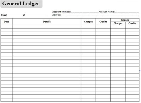 General Ledger Spreadsheet by Accounting Journal Template Excel Excel Accounting