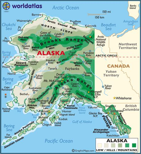 map of alaska large color map